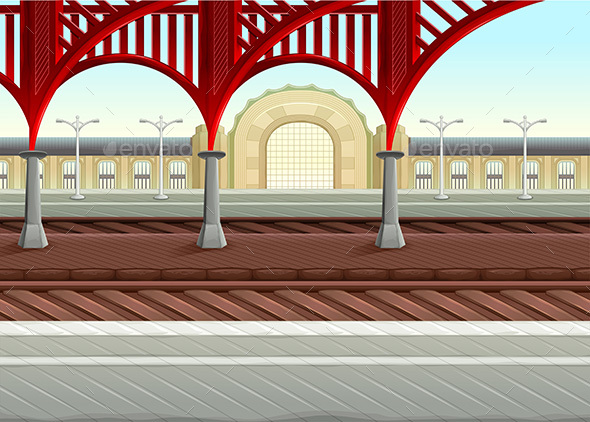 View on Railways in the Train Station - Buildings Objects