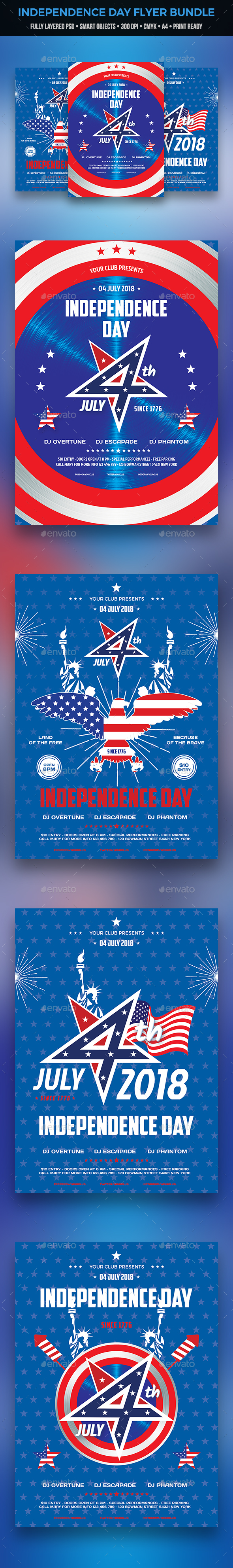 4th of July Flyer Bundle - Clubs & Parties Events