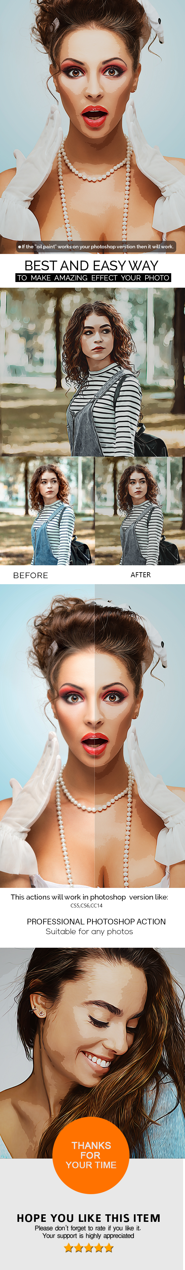 Cartoon Oil Paint  Photoshop Action - Photo Effects Actions