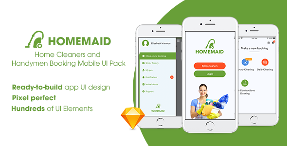 HomeMaid - Home Cleaners and Handymen Booking Mobile UI Pack - Sketch Templates