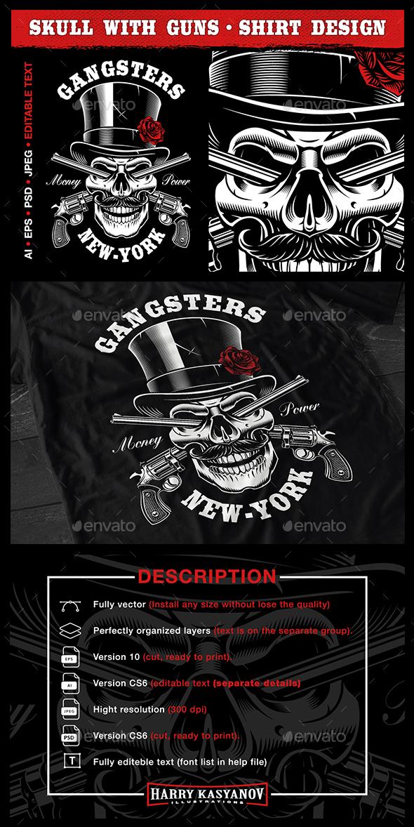 Skull with guns. - Designs T-Shirts