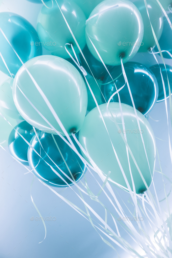 Blue air ballons background - Stock Photo - Images