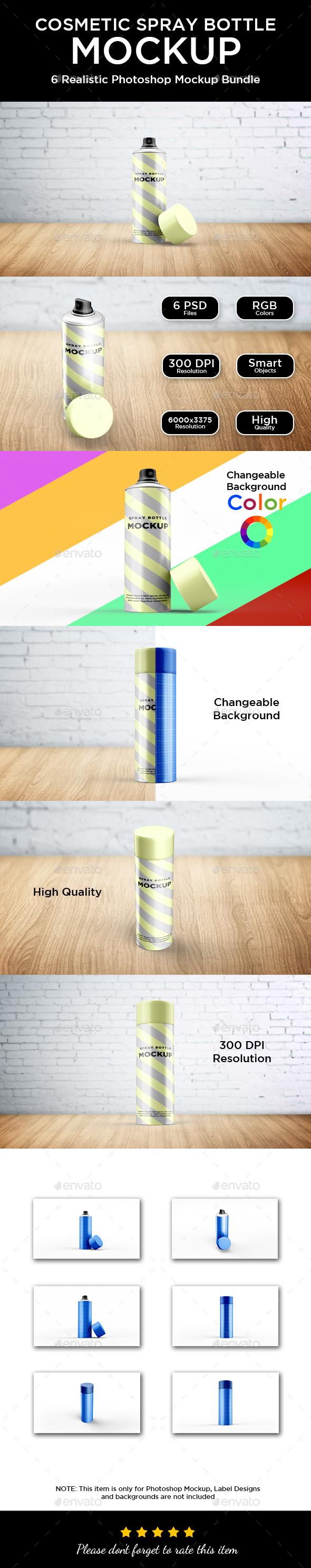 Cosmetic Spray Bottle Mockup - Beauty Packaging