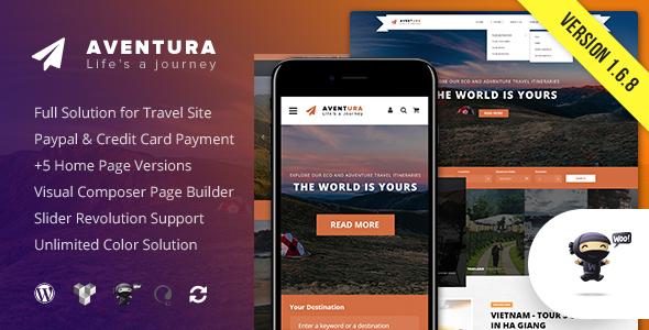 Aventura - Travel & Tour Booking System WordPress Theme - Travel Retail
