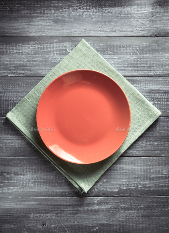 plate and napkin at table - Stock Photo - Images