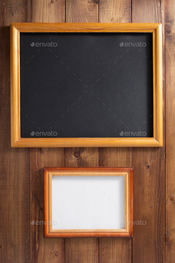 photo picture frame at wooden background - Stock Photo - Images