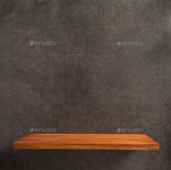 wooden shelf at concrete wall - Stock Photo - Images