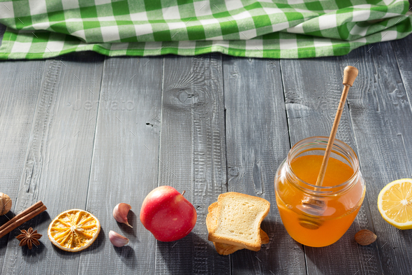 healthy food on wooden table - Stock Photo - Images