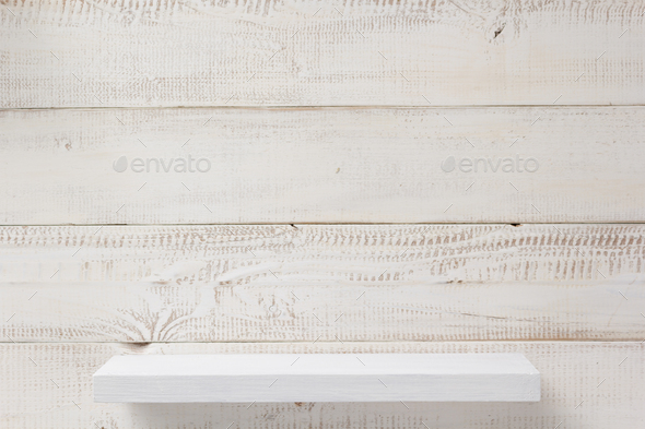 shelf at white plank wooden background - Stock Photo - Images