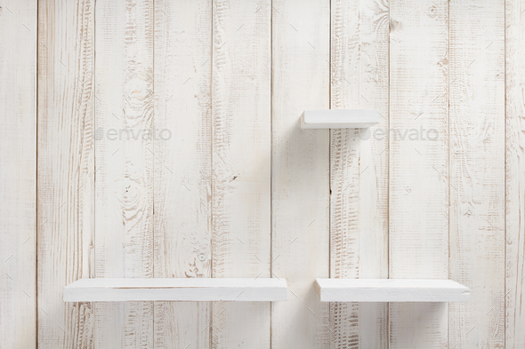 set of wooden shelf on wall background - Stock Photo - Images