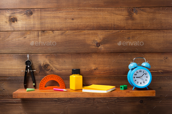 school supplies and tools at shelf - Stock Photo - Images