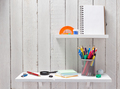 school supplies and tools at  wooden shelf - PhotoDune Item for Sale