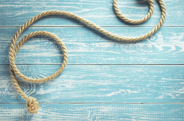 ship rope on wood - Stock Photo - Images