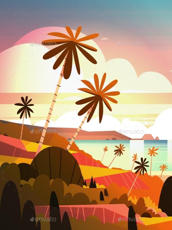 Sunset On Ocean, Tropical Landscape - Landscapes Nature