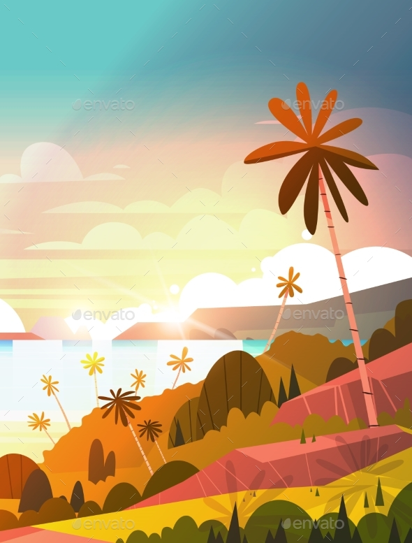 Sunset On Seaside, Tropical Landscape - Landscapes Nature
