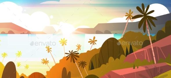 Sunset On Seaside Horizontal Banner - Landscapes Nature