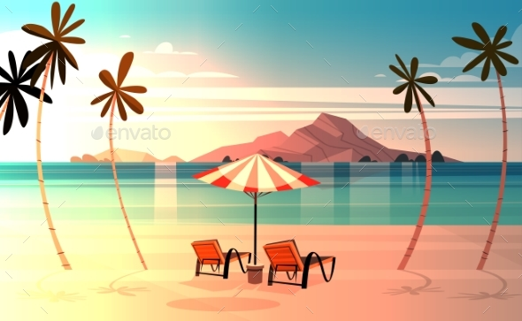 Deck Chairs On Tropical Beach At Sunset Summer - Landscapes Nature