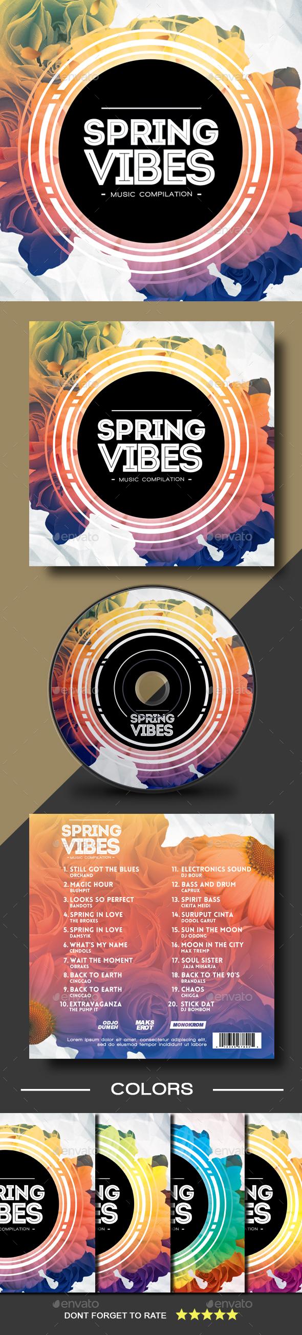 Spring Vibes CD Cover Artwork - CD & DVD Artwork Print Templates