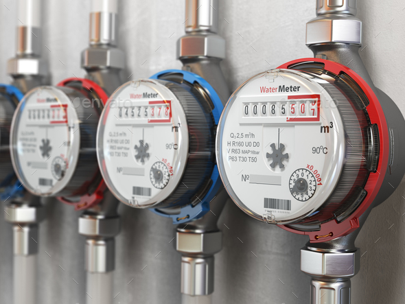 Row of water meters of cold and hot water on the wall background - Stock Photo - Images