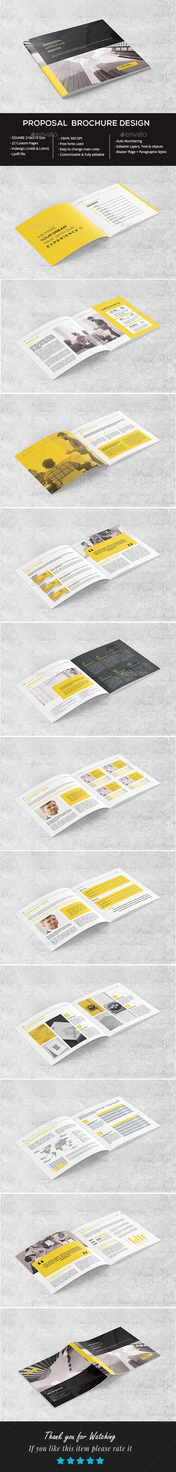 Square Clean Proposal Brochure - Brochures Print Templates