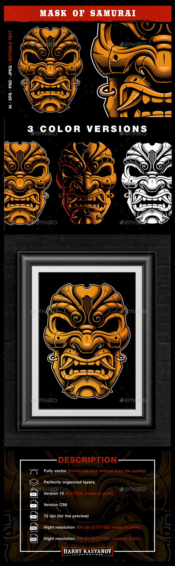 Samurai Mask Vector - Miscellaneous Characters