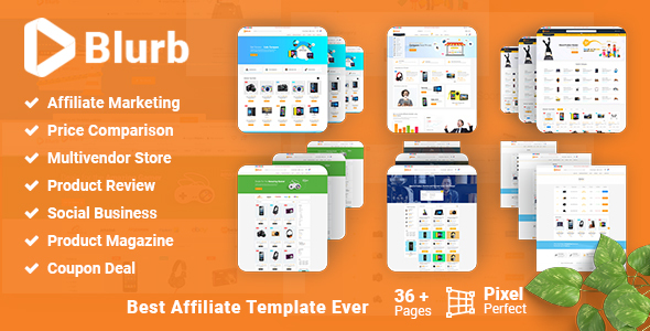 Blurb - Price Comparison with Review base Multivendor Coupon Store Affiliate Marketing HTML Template