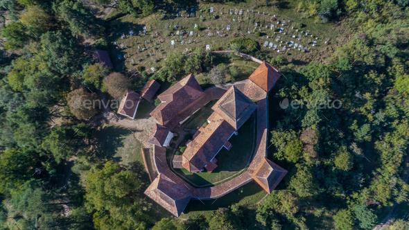 Viscri fortified church. Transylvania, Romania, - Stock Photo - Images