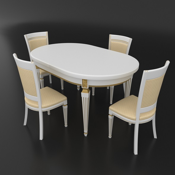 Dining set of classic Italian design consisting of a table and chairs Nike Avorio - 3DOcean Item for Sale