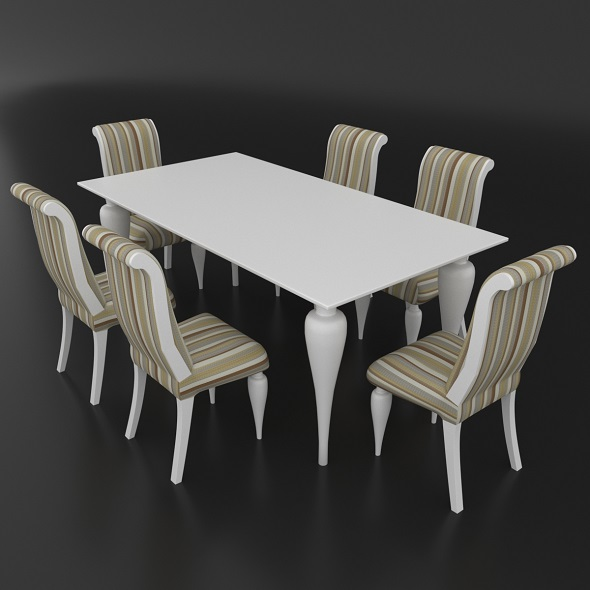 Dining set of classic Italian design consisting of a table and chairs Betamobili ottocento italiano - 3DOcean Item for Sale