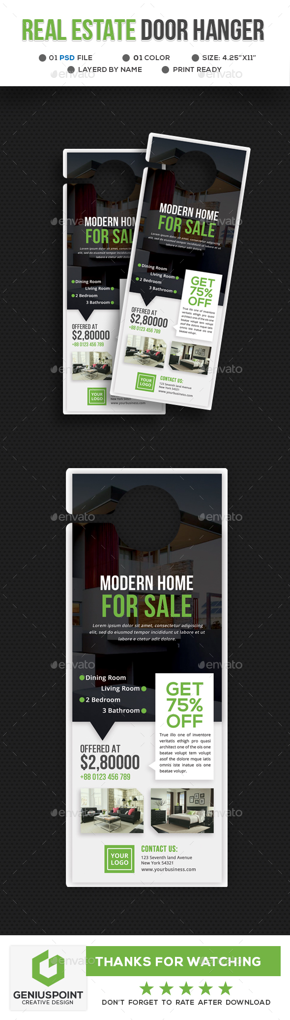 door hanger design real estate. Real Estate Door Hanger - Miscellaneous Print Templates Design