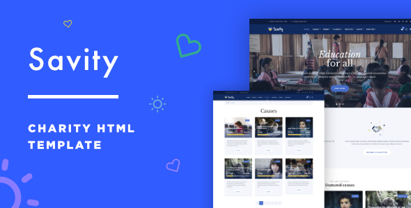 Savity - Charity & Fundraising Bootstrap HTML Template - Charity Nonprofit