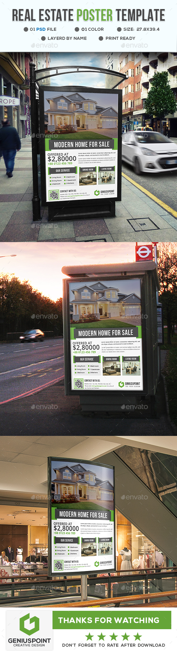 Real Estate Poster Template - Signage Print Templates