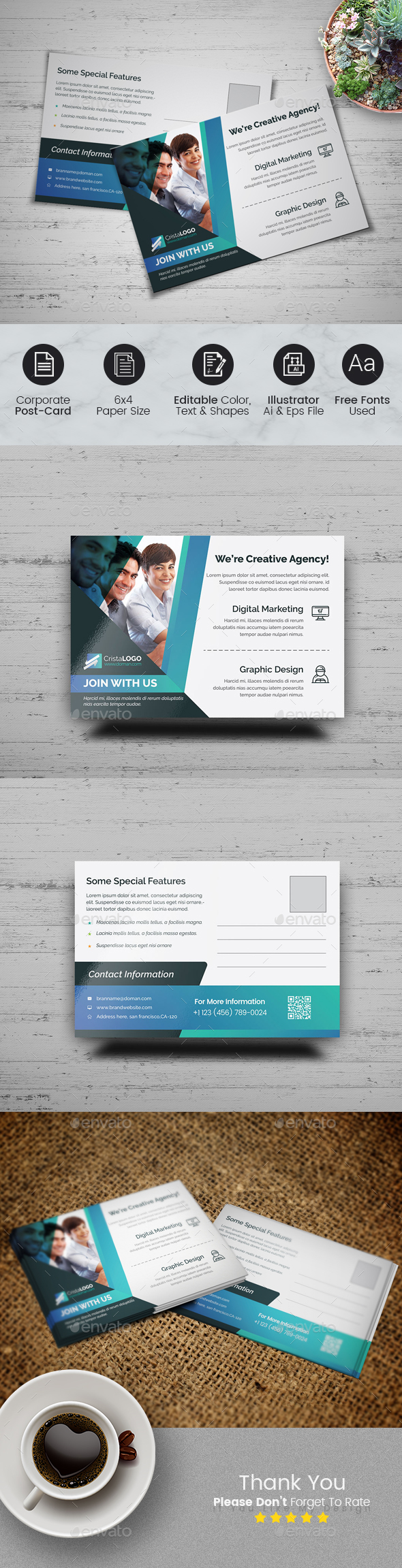 Business Postcard Template by CRISTAL_P | GraphicRiver