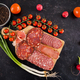 Top view of delicious healthy meat appetizers on wooden board - PhotoDune Item for Sale