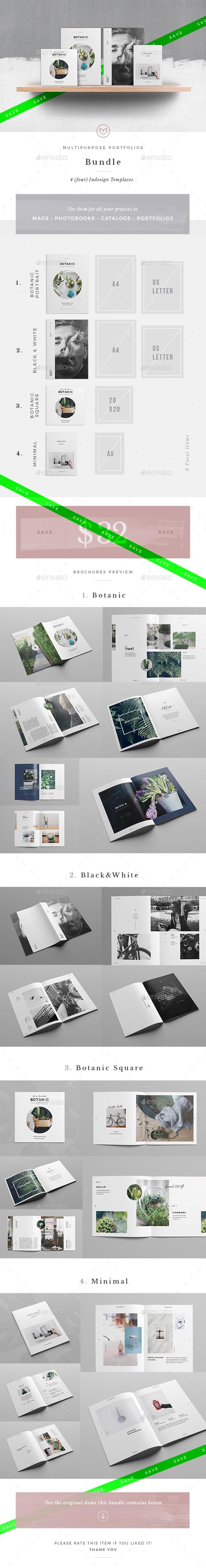 4 Unique Multipurpose Portfolios Bundle - Brochures Print Templates