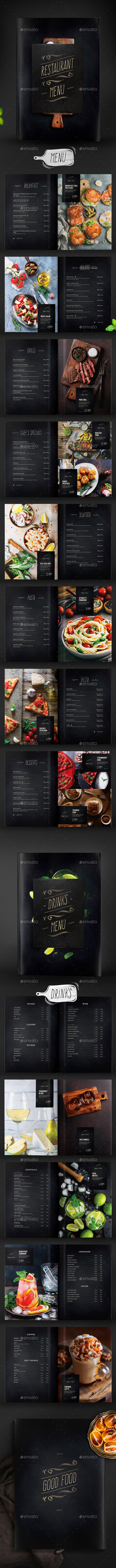 Restaurant Menu -  Food & Drinks - Food Menus Print Templates