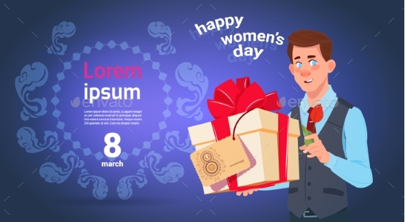Man Hold Gift Box For 8 March Holiday Happy - Backgrounds Decorative