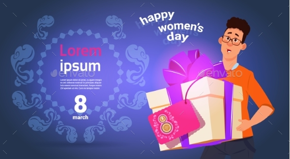 Guy Hold Presnt Box For Happy International Women - Backgrounds Decorative