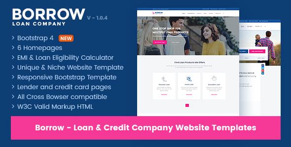 Borrow - Loan Company Responsive Website Templates - Miscellaneous Site Templates