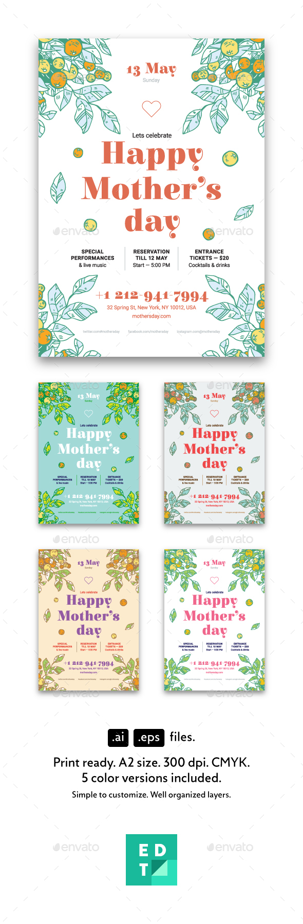 Mother's Day Poster Template - Holidays Events