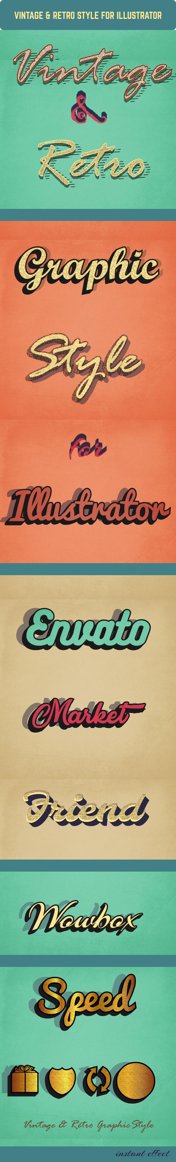 Vintage & Retro Graphic Styles for Illustrator - Styles Illustrator