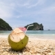 Fresh Young Coconut Lying on the Beach. , Tropical Vacation Travel Concept - VideoHive Item for Sale