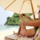 Mixed Race Young Tourist Woman Taking Smartphone Selfie Picture Relaxing on Lounge Bed Near Sea - VideoHive Item for Sale