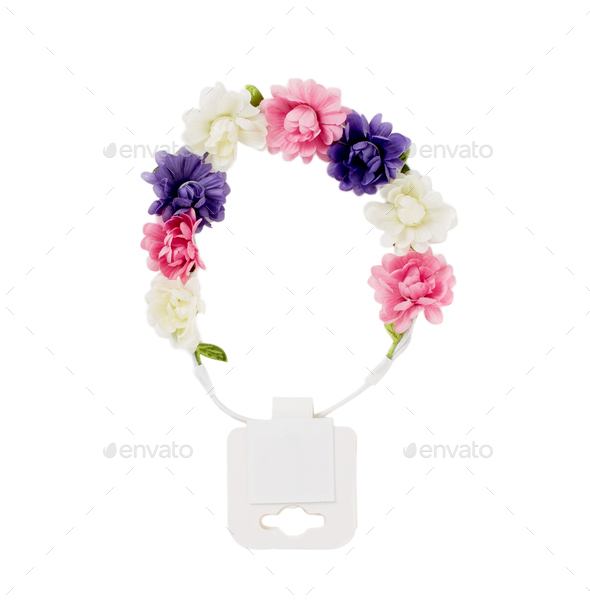 Hair band with artificial flowers. - Stock Photo - Images