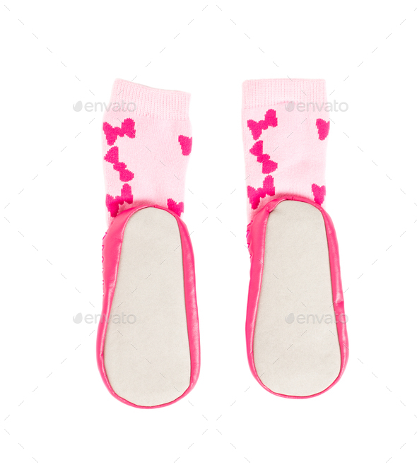 Pink soft shoes for babies. - Stock Photo - Images