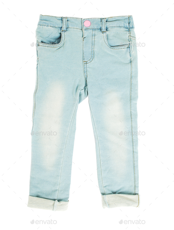 Children blue jeans. - Stock Photo - Images