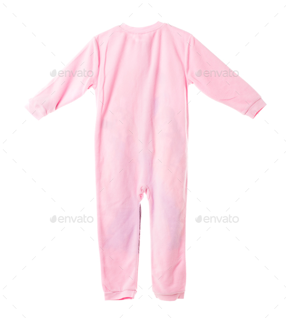 Pink fleece pajamas. Back side. - Stock Photo - Images