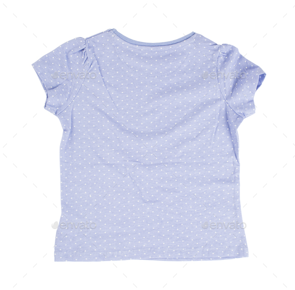 Blue dotted cotton t-shirt. - Stock Photo - Images