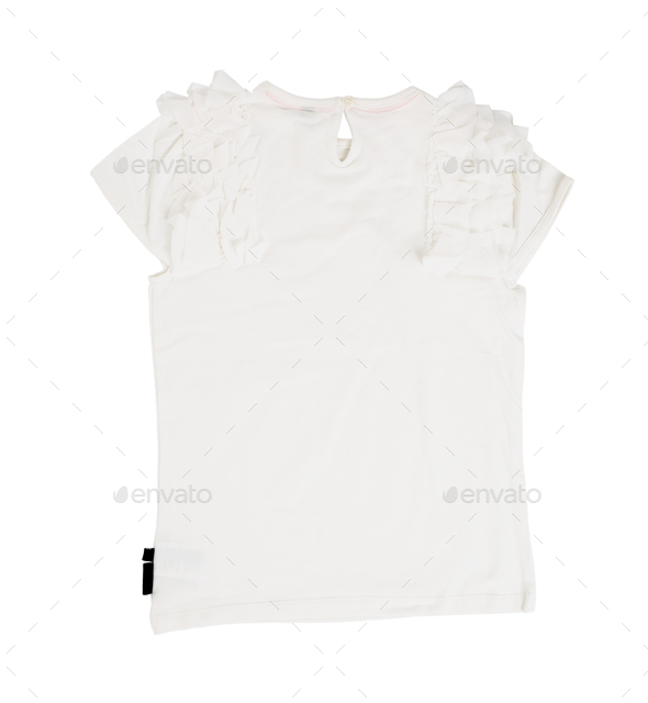 White cotton frilled t-shirt. - Stock Photo - Images