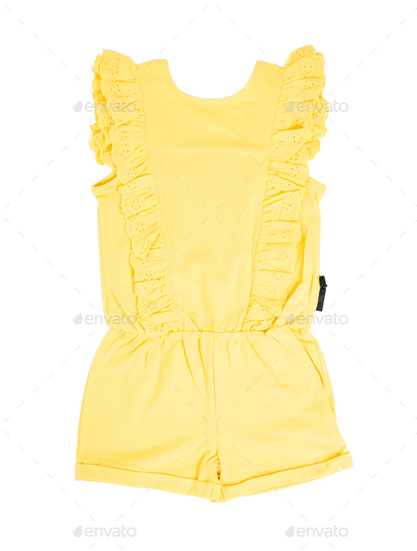 Yellow frilled coton overall. - Stock Photo - Images